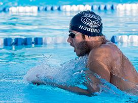 Male swimmer in the pool.