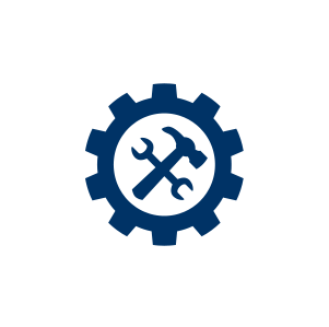 Icon showing a hammer and wrench inside of a gear symbol