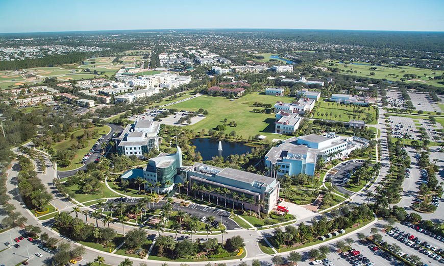 Aerial view of Max Planck 和 Scripps on the 木星 campus